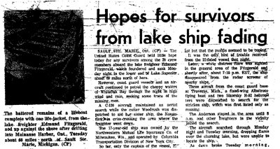 report of the sinking of the Edmund Fitzgerald on November 10, 1975